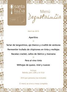 Menú Degusta LuZía abril '15