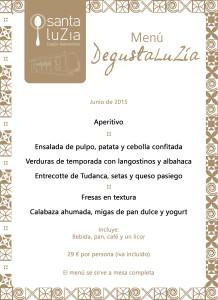 Menú Degusta LuZía junio '15